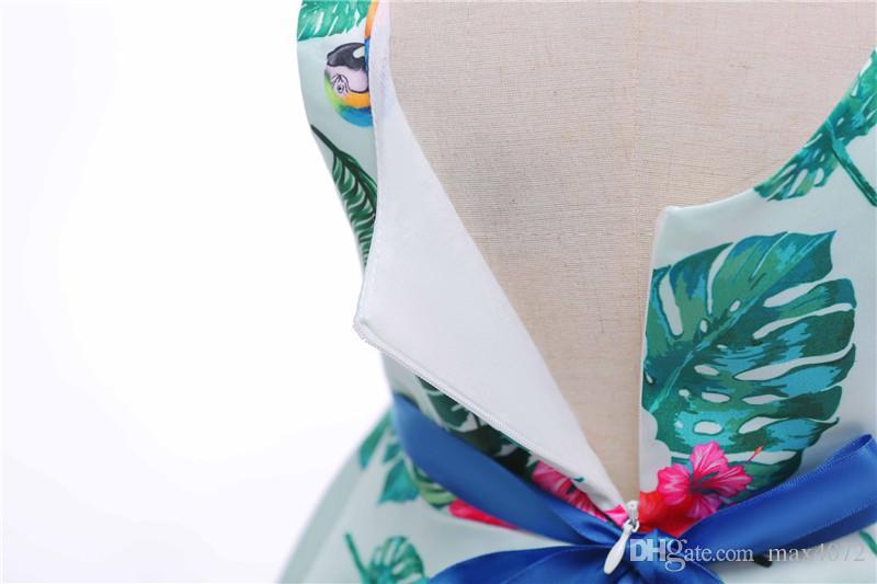 Klasik kız elbise kısa kolsuz yeşil yapraklar papyon prenses elbise 3-10years kız çocuklar çocuklar için parti yemeği performans elbise