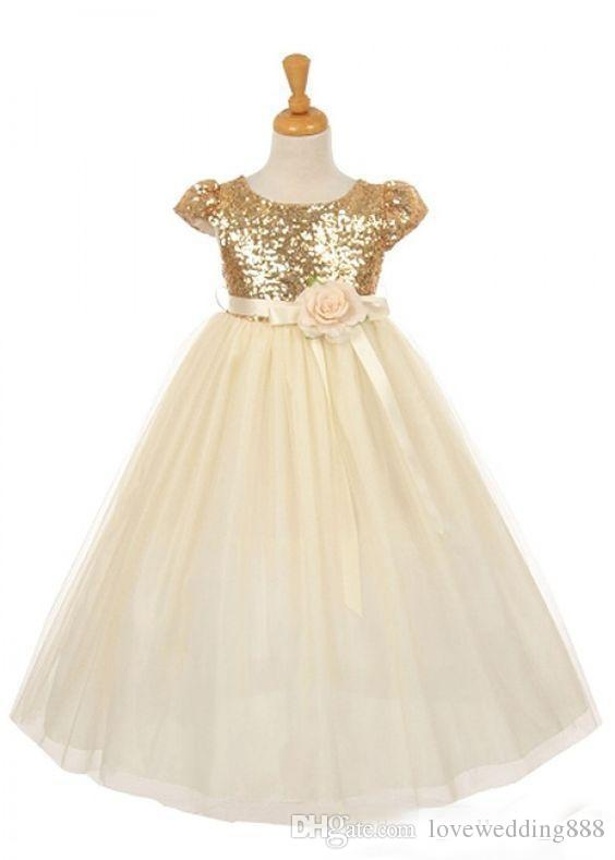 2018 Cheap Rose Gold Sequins Girls Pageant Dresses With Handmade Flowers Sash Princess Party Gown Flower Girls Dress