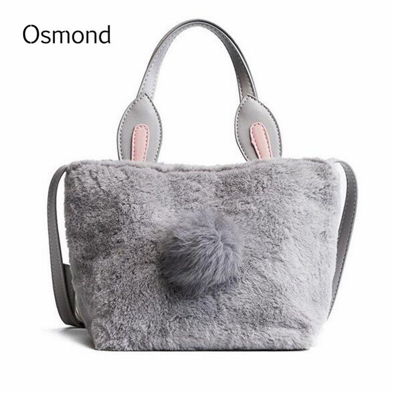 730a1005b87a Osmond Rabbit Ear Handbag Women Fashion Shoulder Bag For Ladies Totes Faux  Fur Bolsas Cute Top Handle Bags Plush Crossbody Bags Purses For Sale  Leather ...