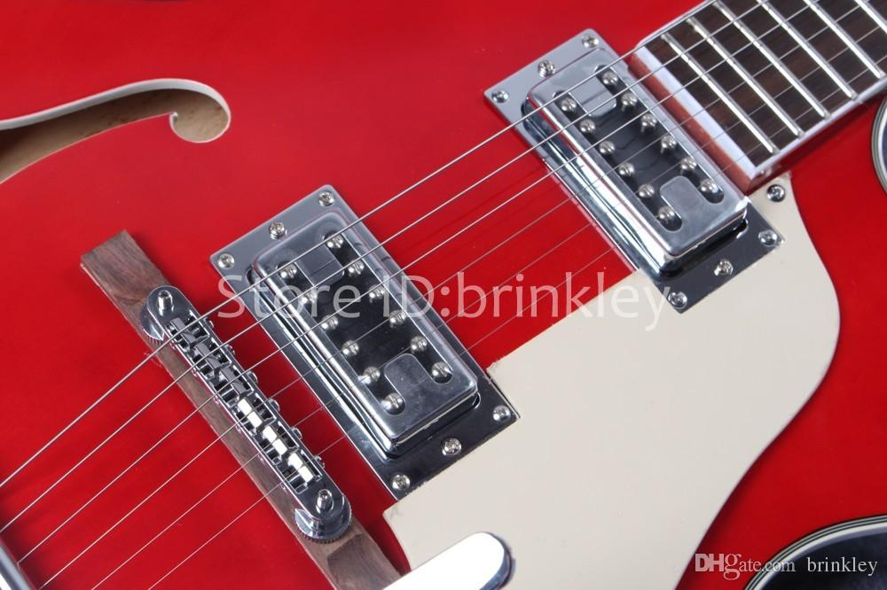 Brinkley Custom Shop vino rosso Falcon Semi Hollow Body Jazz Chitarra elettrica con Tremolo, foto reale