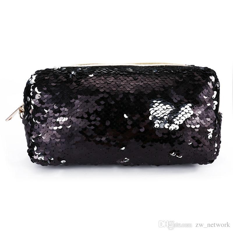حار الأزياء حورية البحر الترتر أكياس قلم للطلاب نساء حقائب التجميل مخلب الذهب الوردي الأسود 6 ألوان