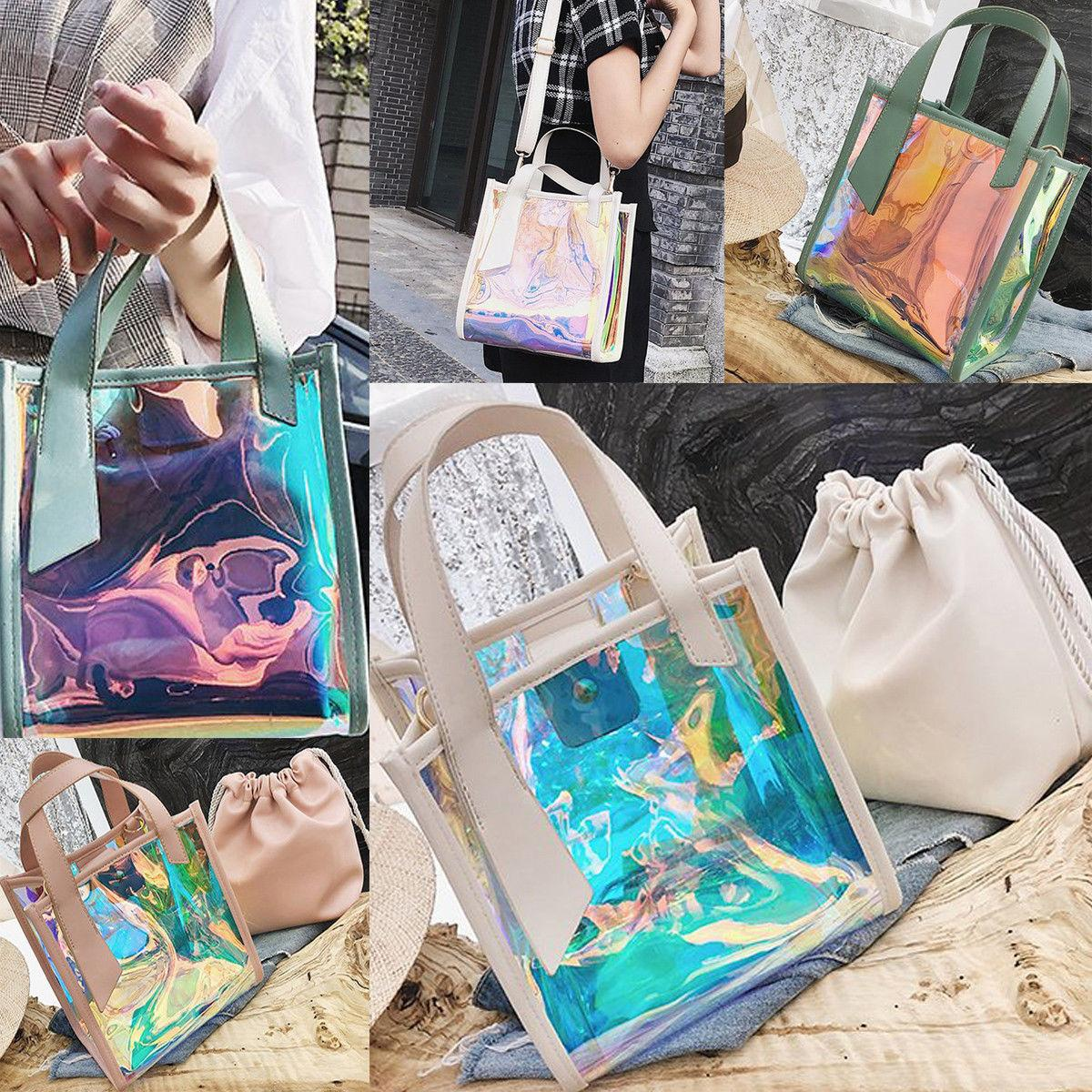 dcd7e91ae Womens Laser Jelly Holographic Bag Clear Transparent Small Tote Hologram  Handbag Purse Laser Cross Body New Style FFA322 Large Handbags Black  Leather ...