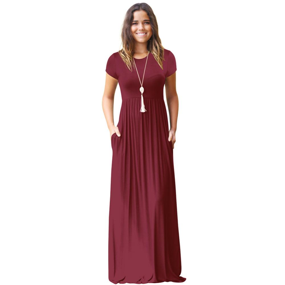 ed2870d50c Casual Long Summer Dresses For Women 2018 Short Sleeve Pocket Floor Length  Maxi Dress Women O Neck Solid Dress Female Vestidos Cocktail Dresses  Teenagers ...