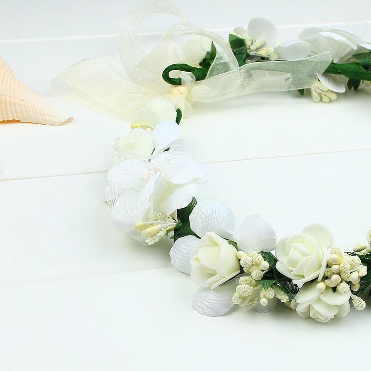 Headbands Accessories Headpieces Boho Wedding Tiara + Floral Wrist Flower Girl Garland Headwear Crown Flowers Hair Wreath