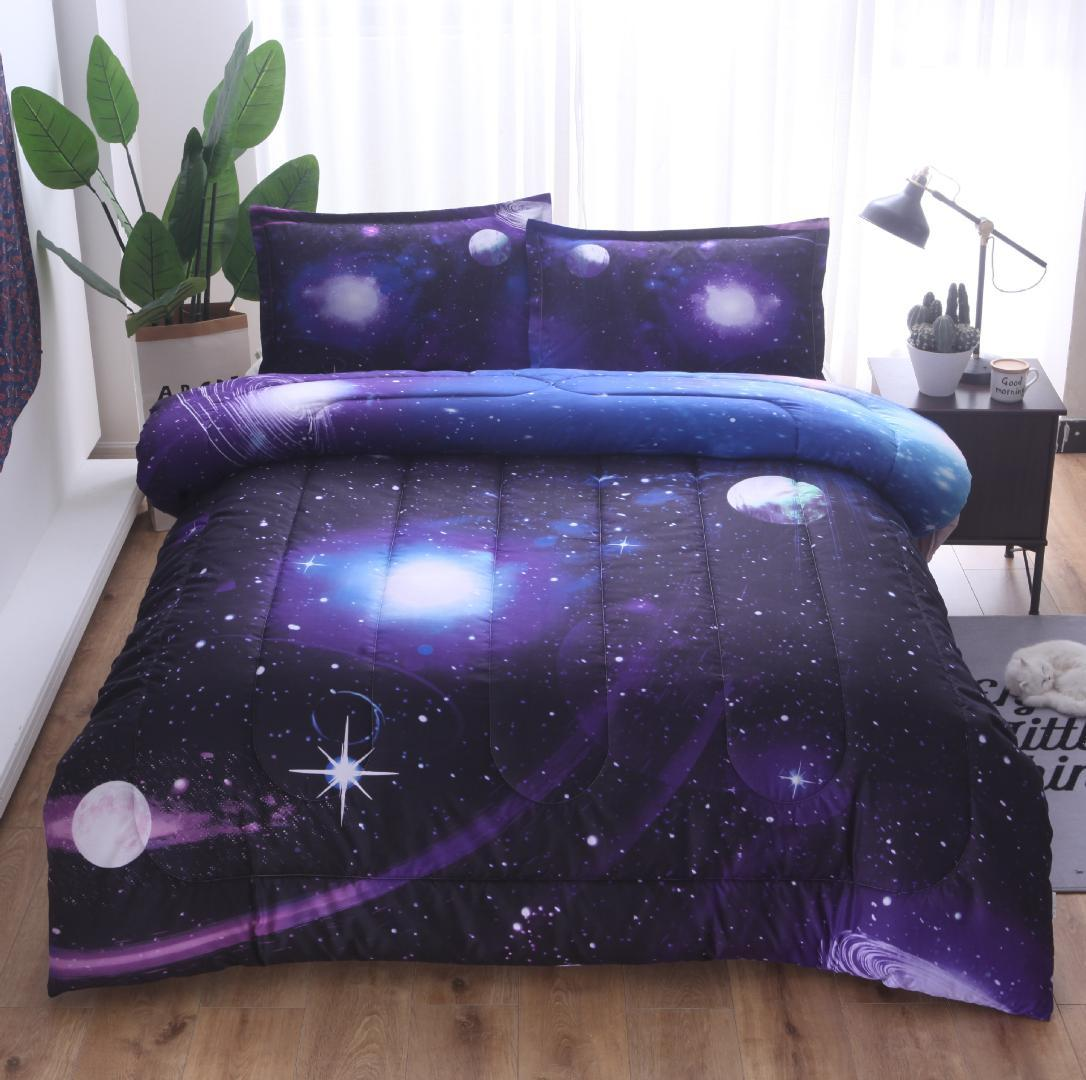 3D Boundless Galaxy Sky Starry Night Out Espacio Ropa de cama Edredón tamaño Queen + Funda de almohada Edredones de aire acondicionado del universo Galaxy azul