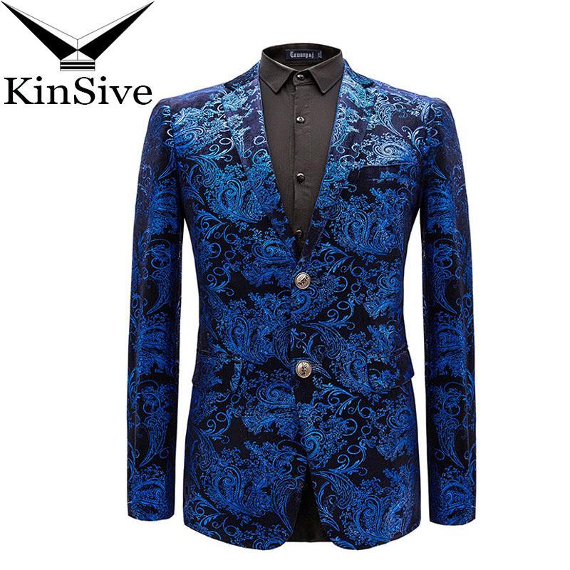 e354ce30a16c Mode Anzug Jacke Männer Luxus Blau Rot Goldene Jacquard Blazer Herren Kleid  Jacken Party Bühne Führen Kostüme Für Sänger Mantel