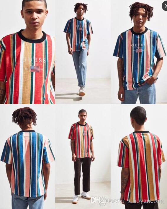 2dae90d788d6 2018 Summer High Quality A AP ASAP Rocky Oversized T Shirt New Striped Men Casual  Short Sleeved T Shirts Embroidery Logo Fashion  3301 Fashion Shirt Tee ...