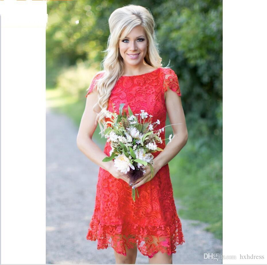 2018 New Red Full Lace Short Bridesmaid Dresses Cheap Western Country Style Crew Neck Cap Sleeves Mini Backless Homecoming Cocktail Dresses