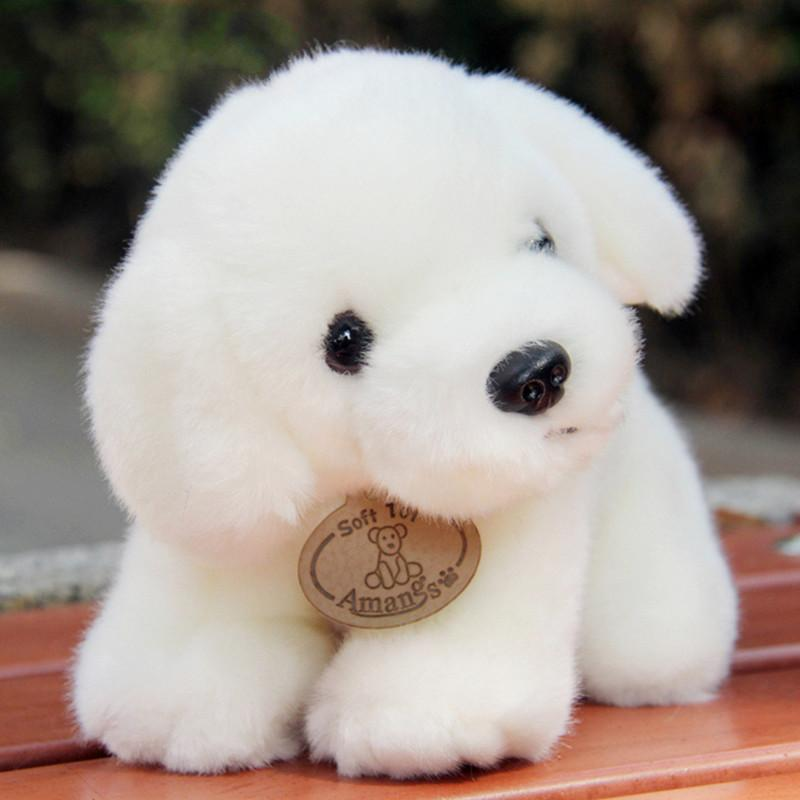 2019 Amangs Genuine Cute Little White Dog Plush Toys Simulation Doll