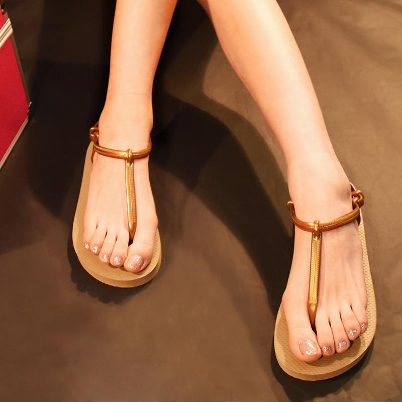 e70326a0037 Roman Summer Flat Sandals For Women Bohemia Sandals Black Apricot Sweet  Ladies Fashion Shoes T Strap Non Slip Flip Flops 8H0183 Shoe Shop Cute Shoes  From ...