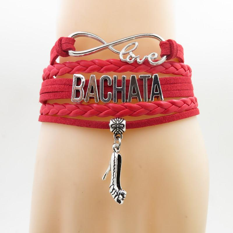 Moda Bachata Pulseira de salto alto Charme Bachata presente do dançarino pulseira de couro preto pulseiras bangles para mulher homem passatempo de dança
