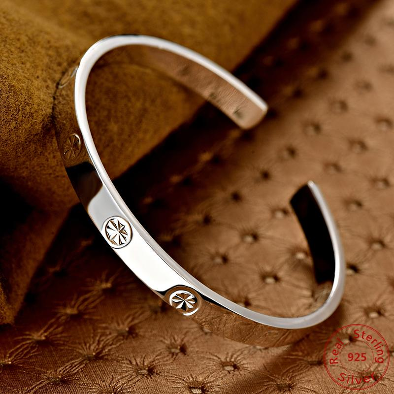 b4fcb6aa9f1 Hot Sale European Charm Pure 999 Sterling Silver Bracelet Bangles Women Men  Fashion Jewelry Star Bracelets Ladies Gold Bangles Leather Bangles From  Value222 ...