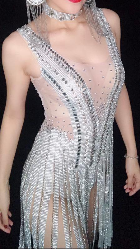 Sparkly Silver Rhinestones Fringes Dress Mujeres Cumpleaños Celebrate Bodysuit Tassel Bodysuit Performance Evening Wear Ds Dj Dress