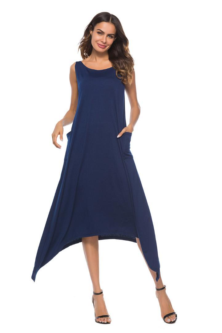 huge discount 094f2 3564a Ärmelloses O-Neck Strap Solide Langes Kleid Sommer Flowy Swing Blaues  Sommerkleid Kleider Frauen