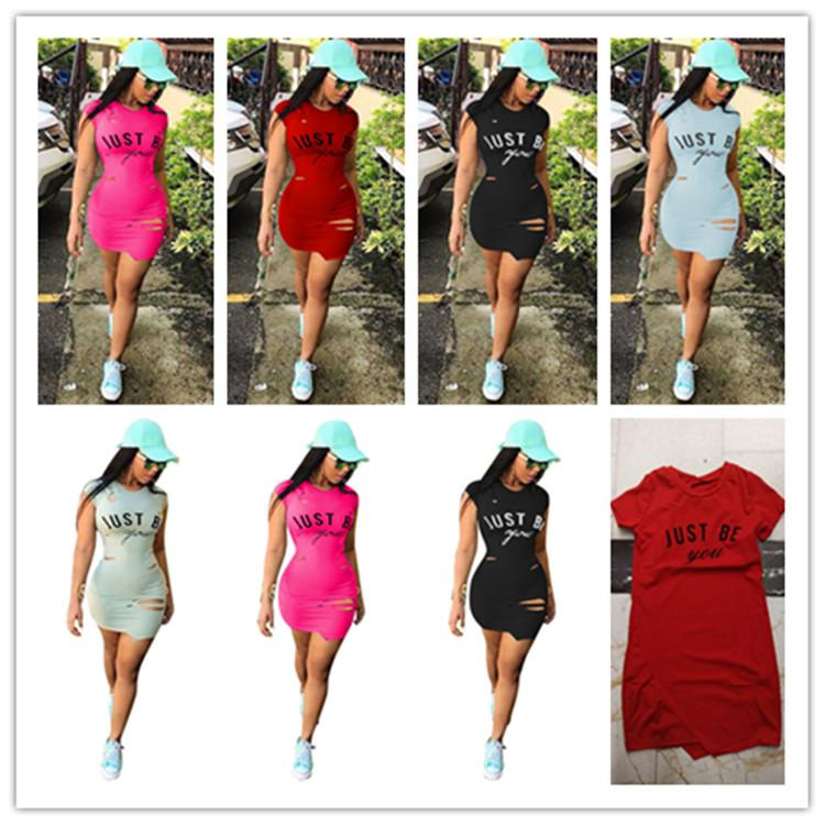 34fb8d0d86c Just Be You Letter Women Sexy Dress Summer Short Sleeve Ripped Holes  Bodycon Mini Dresses Fashion Destroyed Tight Skirts Night Club Wear Hot UK  2019 From ...