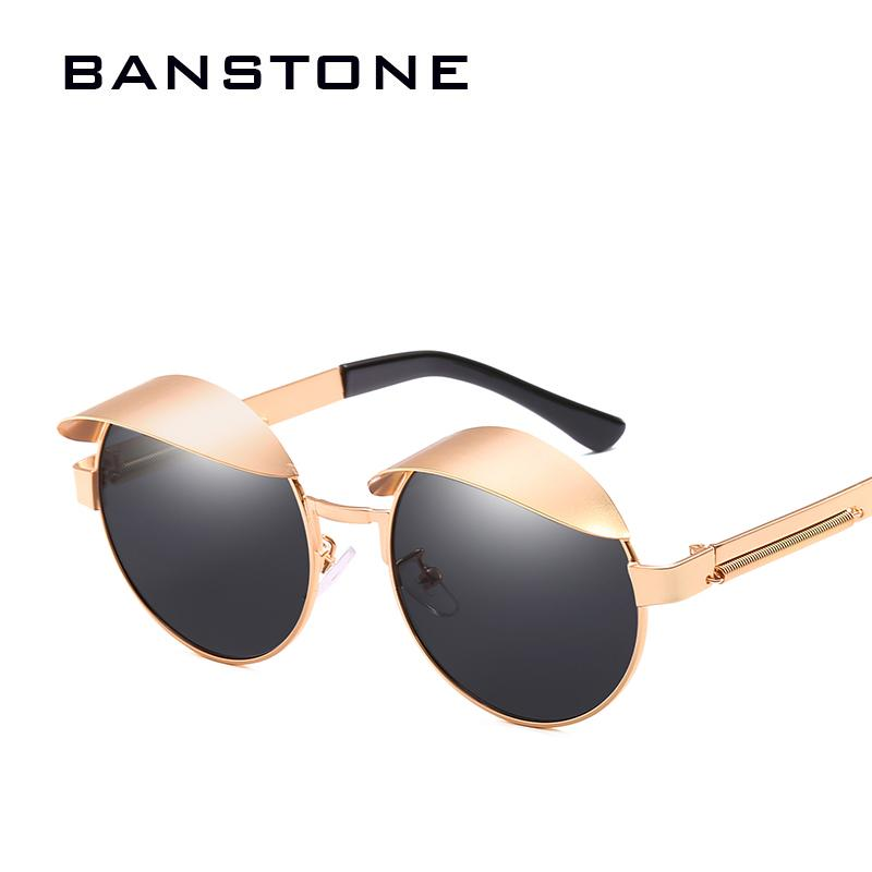 684a75f830073 Compre Banstone Moda Vintage Redonda De Metal Steampunk Estilo Mulheres  Óculos De Sol Dos Homens Sombrinha Marca Design Óculos De Sol Oculos De Sol  De ...
