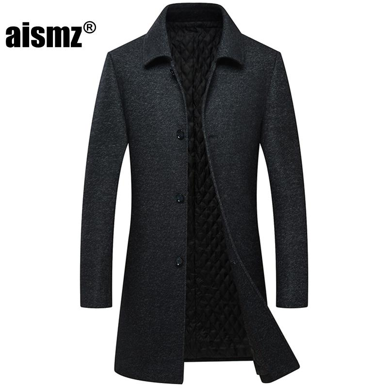 Aismz Winter Men Single Breasted abrigo de lana Mens Thick Warm Business Casual delgados chaquetas largas Trench Coat casaco masculino