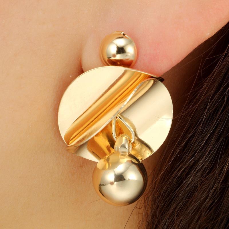 2018 giapponese tondo + perline orecchini moda nuovo oro / argento lega specchio lucido geometrico personalità creativa orecchini di fascino le donne
