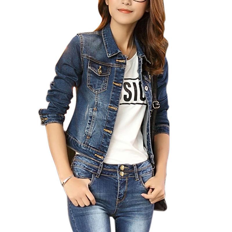 best cheap 1d339 7c3c3 2018 Primavera autunno Giacca di jeans per le donne Plus Size manica lunga  giacca jeans corta donne cappotto di jeans Cappotti da donna