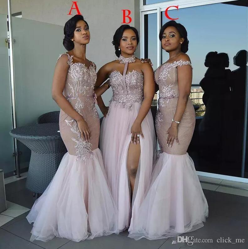 Vestidos de dama de honor africanos Apliques de estilo largo mixto Vestido de baile de sirena de hombro dividido La dama de honor de lado vestidos de noche