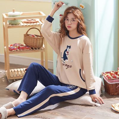263d8ae00e65 2019 Women 100% Cotton Pajama Sets Autumn Winter Long Sleeve  Shirts+Trousers Cartoon Floral Pyjama Sets Cute Sleepwear Homewear From  Kuaikey