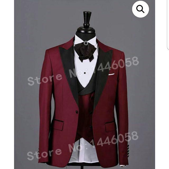 (Jacket+Vest+Pants) 2018 Fashion Design Wedding Party Dress Men Slim Fit Burgundy 3 Pieces Men Suits For Wedding Groom Tuxedo