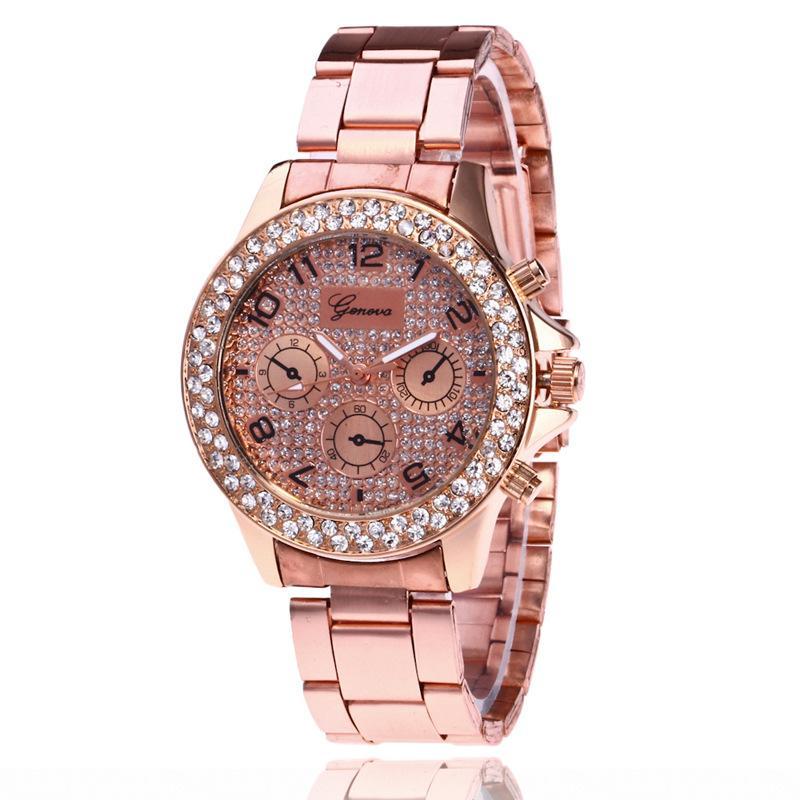 52187e422f442 Compre Mulheres Relógios Genebra Diamante Relógio De Aço Liga De Metal Relógio  Senhora Masculino Relógios De Pulso De Luxo Rosa De Ouro De Prata Rápido ...
