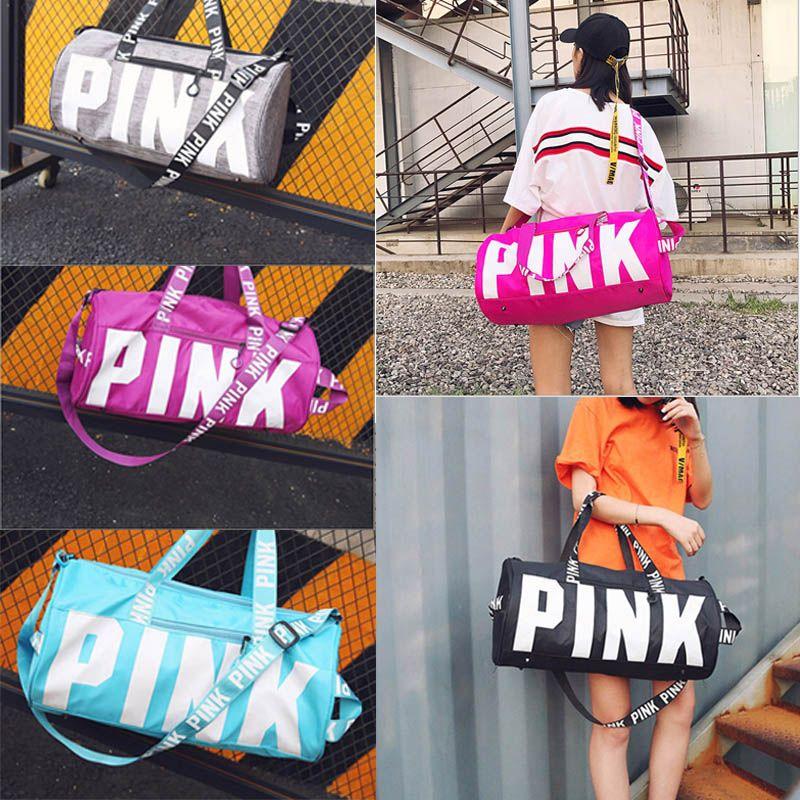 5 Colors Pink Letter Duffel Bags Large Capacity Travel Duffle Striped  Waterproof Beach Bag Women Handbags Shoulder Bag bd3dffb9c5