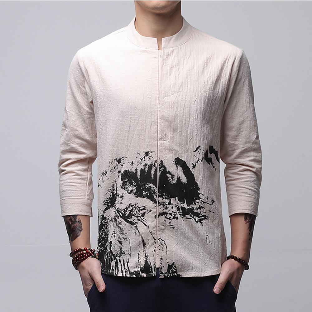 2019 Helisopus Chinese Tang Suit Mens Shirts Three Quarter Sleeve