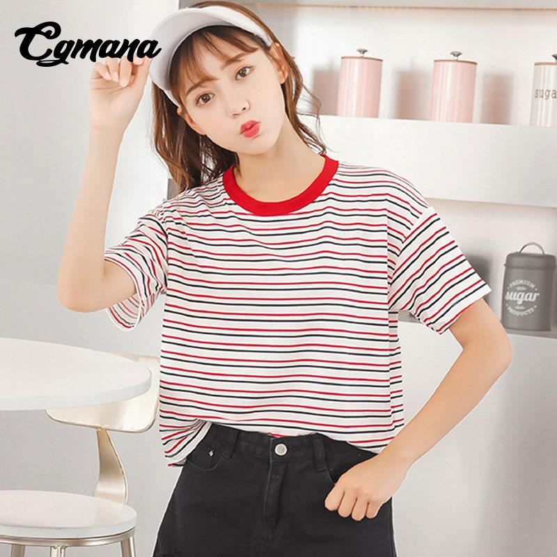 f8bc1450ce55 CGmana Female T Shirt 2018 Chic Simple Red Collar Striped T Shirts Women  Korean Ulzzang Women S T Shirts Casual Tops Tees Summer T Shirts Online  Shopping ...