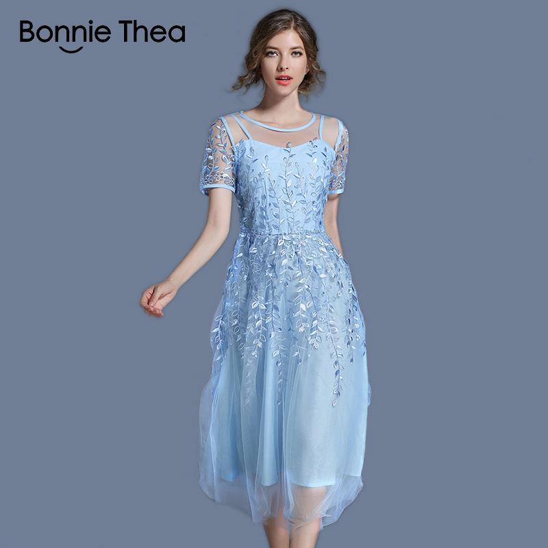 ad4c9eba9aa40a Großhandel Femme Elegant Blau / Rosa Stickerei Mesh Sommerkleid ...
