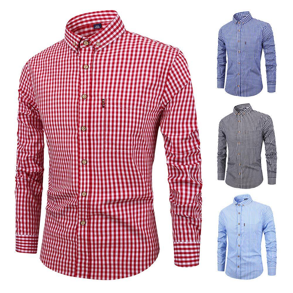 2019 2018 Mens Small Plaid Dress Shirts Male Long Sleeve Slim Fit