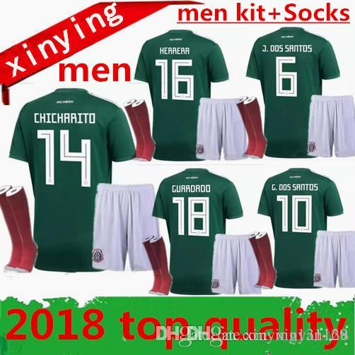 Compre Copa Do Mundo 2018 2019 México Homens Adultos Conjuntos + Meias  18 19 M FABIAN Camisa De Futebol CHICHARITO GUARDADO HERRERA G DOS SANTOS  Uniformes ... 082193720fd77