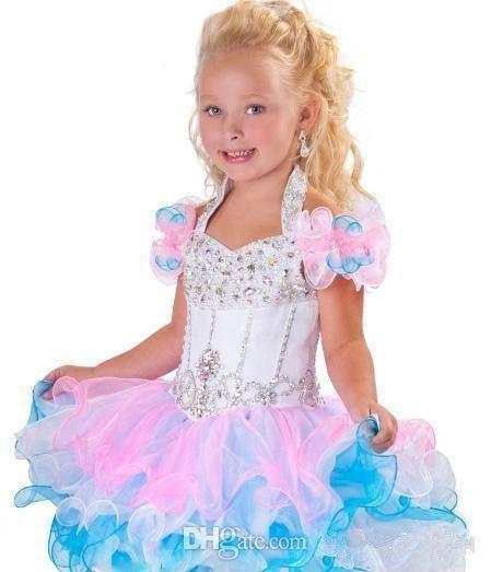 Pageant Vestidos Backless cristal Beads Piping Organza Cupcake Rosa Branca Flor menina Vestidos BO6002 linda cabeçada A Linha Mini Glitz Girls'