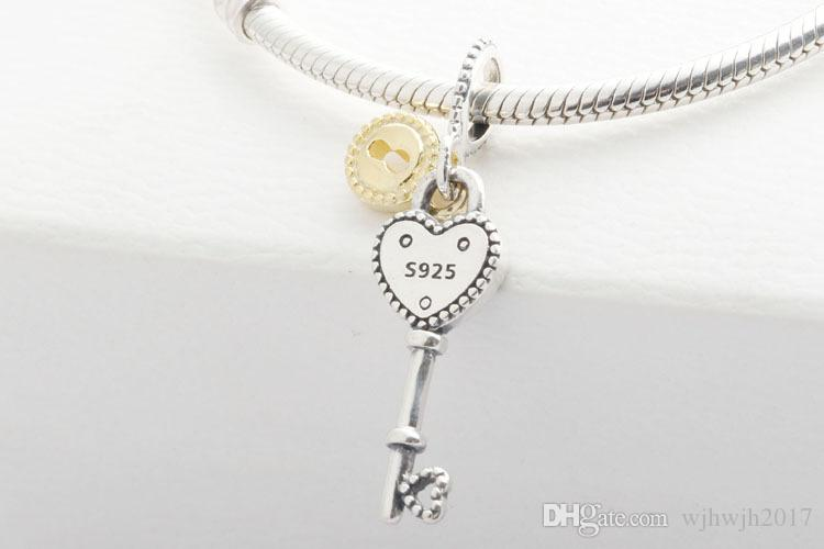 New Authentic 925 Sterling Silver Charm Bead Key to My Heart Charms Pendant Valentines Day Fit European Charm Bracelets Women Diy Jewelry