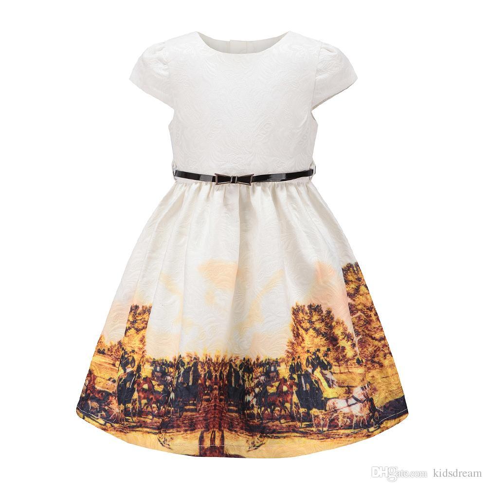 Girls Floral Party Dress Size 3~12 Princess Fall Yellow Farm Pattern ... 0497c2486