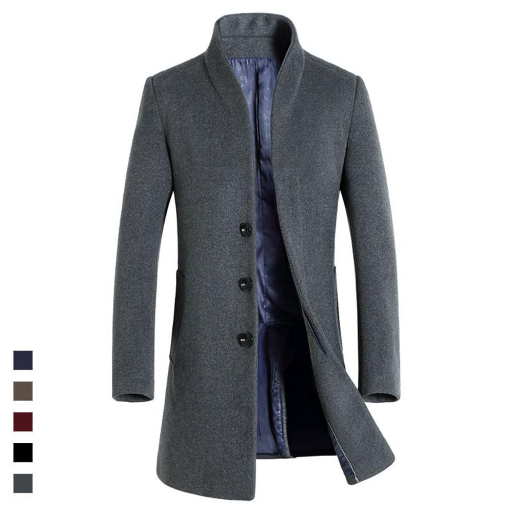 2018 Autumn winter Male Woolen Coats Middle Long Business Jackets Mens solid color Thicken Warm Wool&blends Overcoat Size 3XL Y18103102