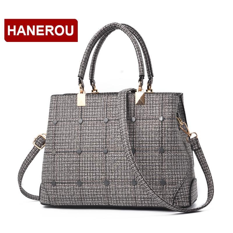 f19927fcf4a7 HANEROU Women Leather Handbags 2018 Brand Luxury Designer Plaid ...