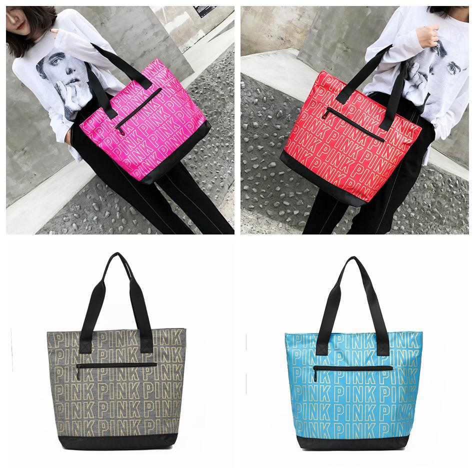 660e58116e Pink Letter Handbag PINK Duffle Bag Tote Large Capacity Luggage ...