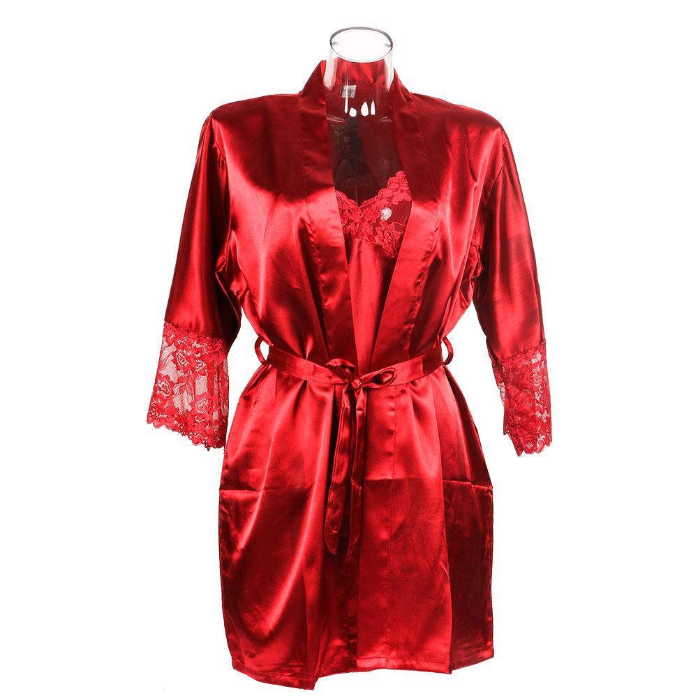 4e72ad6a449 Acheter Femmes Sexy Faux Soie Satin Pyjamas Vêtements De Nuit Doux Chemise  De Nuit Ensemble Robe Robe Manches Longues Noir Rouge Couleur De  28.59 Du  ...
