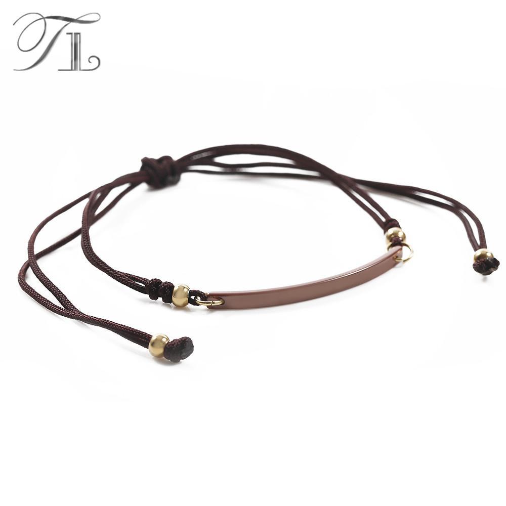 TL Handmade Brown Knot Braid Bracelet Strip Bar Brown/Pink Ceramic Bracelet  Simple Vintage Design Charm Bracelets For Women Men