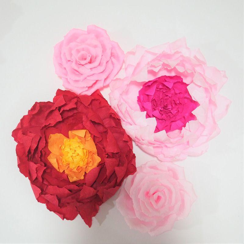 Grosshandel Riesige Krepp Papier Blumen 4st Aritificial Handmade Mix