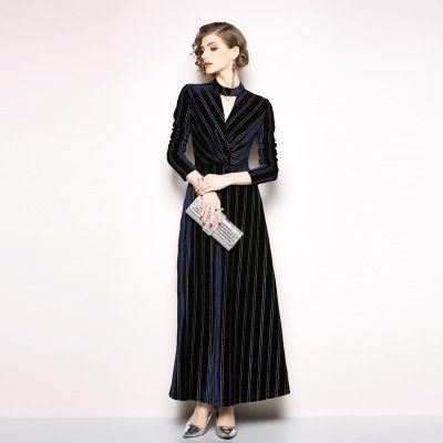 97e314d179f Купить Оптом Модное Элегантное Женское Длинное Платье Golden Silk Wool  Materials