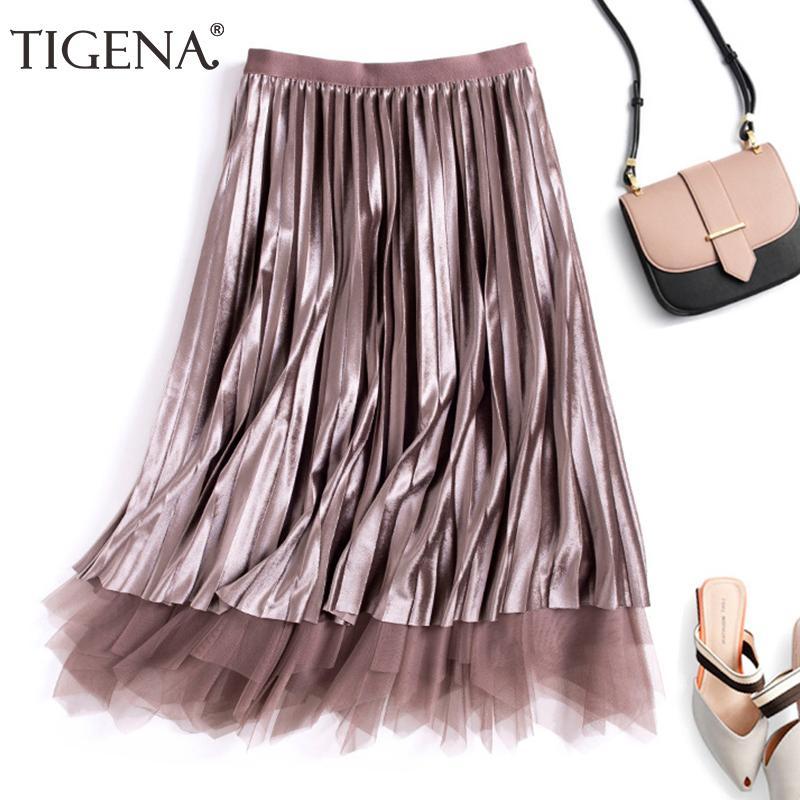 Compre TIGENA Reversible Terciopelo Tul Faldas Largas Moda Para Mujer 2018  Otoño Invierno Cintura Alta Falda Plisada Mujer Elegante Falda Larga  C18111301 A ... b70cc28f2a04