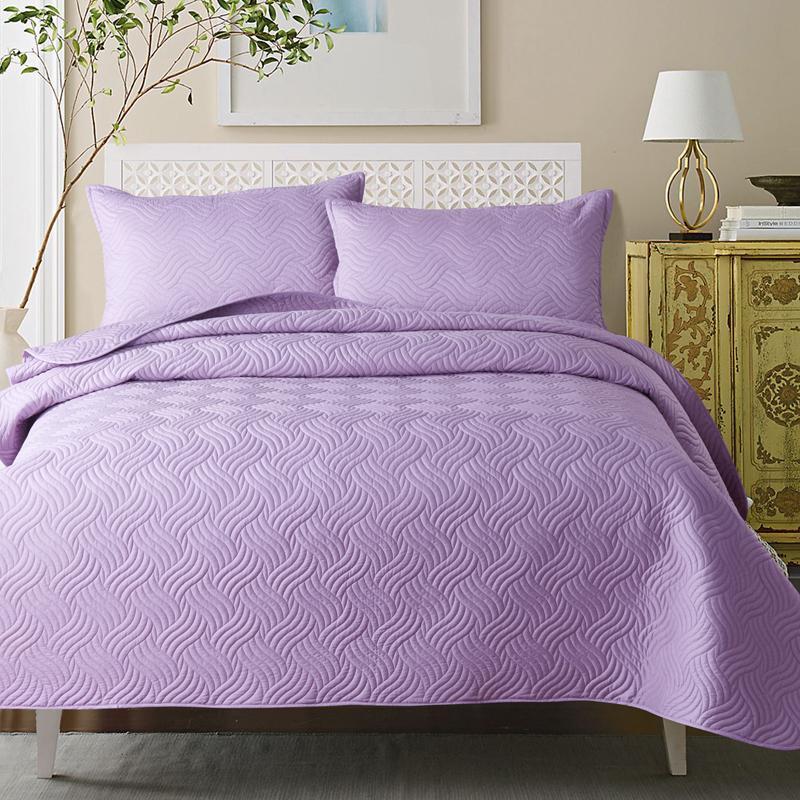acheter couvre lit en coton matelass blanc couleur bleu violet couvre lit doublure en t double taille 220 240cm de 21978 du yong8 dhgatecom - Couvre Lit Violet