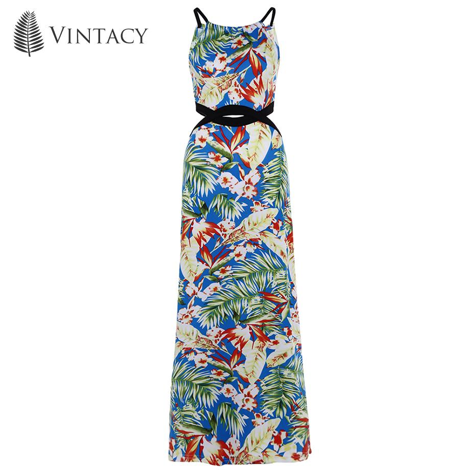 e07e8477b3 2019 Vintacy Women Dress Spaghetti Strap Backless Blue Floral Print Summer  Vacation 2018 Modern Fashion Women Long Maxi Dresses From Amandal