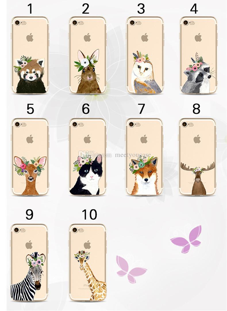 Phone case For iPhone 5 5S 6 6S 7 8 Plus X Floral animal bunny owl deer cat zebra pattern print Soft TPU back Cover Coque Fundas+protector
