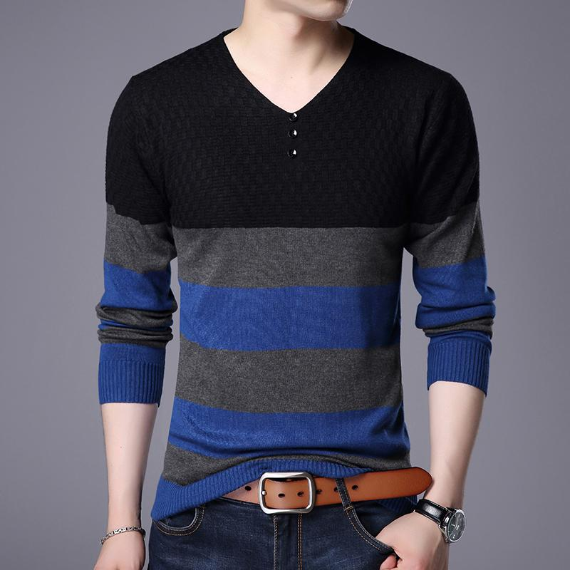 Free Shipping Autumn Mens Striped Sweater Long Sleeve V-Neck Pullover Male Fashion Stripes Slim Fit Sweater Jumper