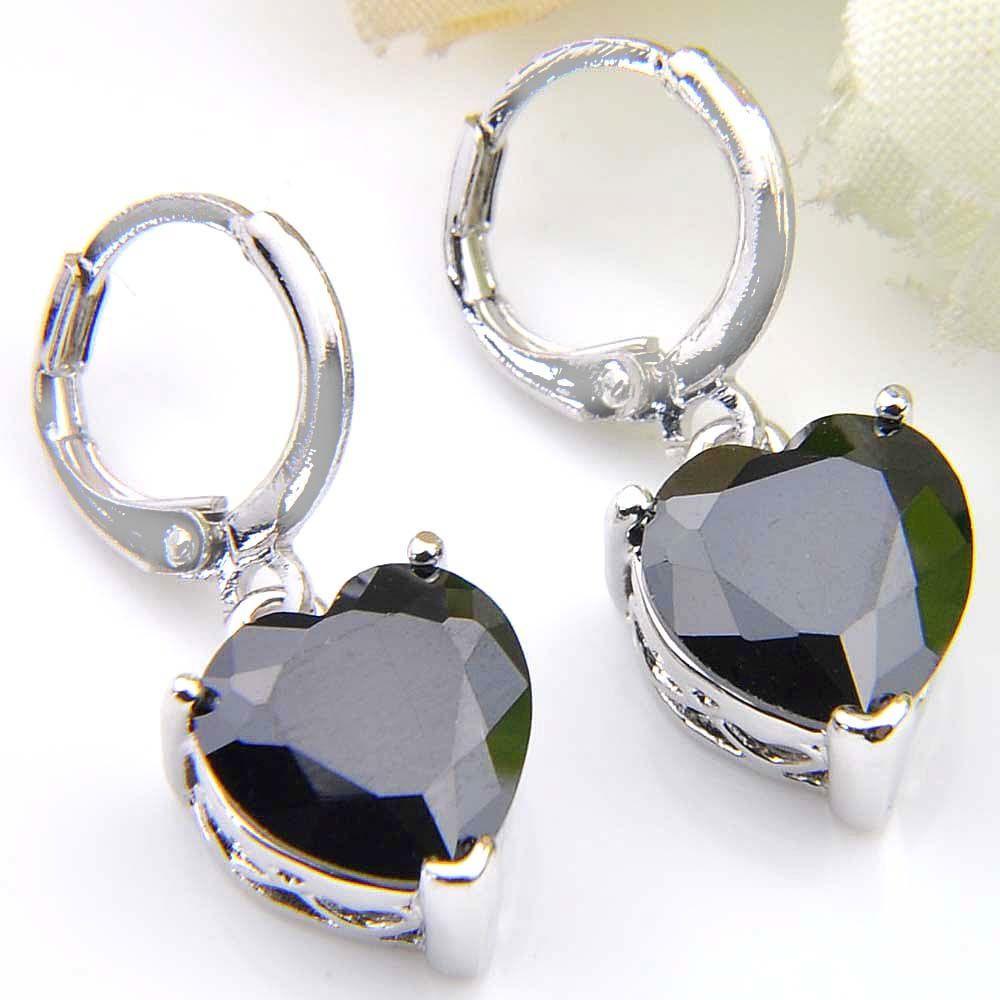 10 Prs Luckyshine Fashion Shine Heart Fire Black Onyx Cubic Zirconia Piedras preciosas de plata cuelgan los pendientes para la fiesta de bodas