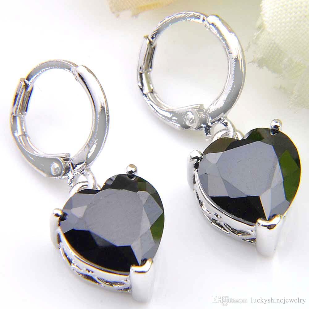 10Prs Luckyshine Fashion Shine Herz Feuer Schwarz Onyx Zirkonia Edelstein Silber Ohrringe Für Urlaub Hochzeit